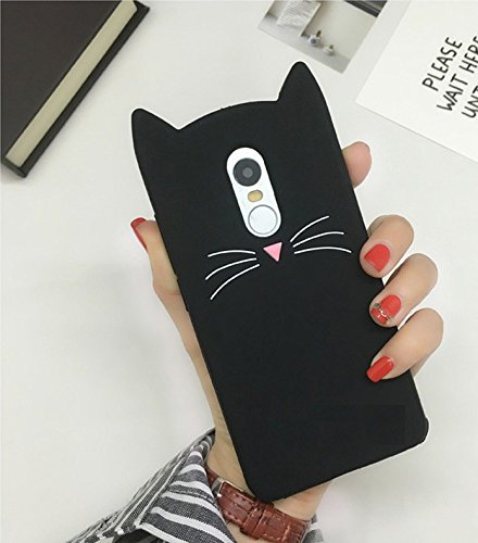 Aafiya Stylish Cat Silicon Case Soft Back Cover for Oneplus 6 with Perfect Cuts and Edges Plus All Round Protection (Black)