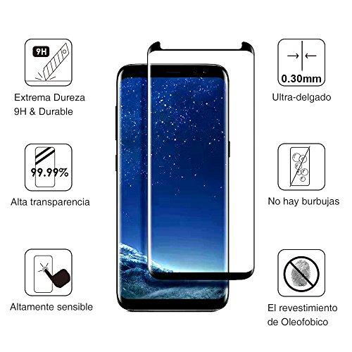 Samsung Galaxy S8 Plus Protector de Pantalla  AceTend s8 Plus Cristal Templado [Caso amistoso] Marco Fijo Cobertura Completa HD Claro  Anti Burbuja  Anti Scratch   Fácil Instalación 3D Curvado Protector de Pantalla de Vidrio Templado Para Samsung Galaxy S8 Plus