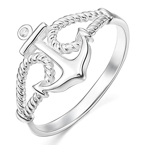 MunkiMix 925 Sterling Silber 13mm Ring CZ Zirkon Zirkonia Silber Ton Anker Segeln Nautisch Seil Größe 60 (19.1) Damen - Herren-marine-ring
