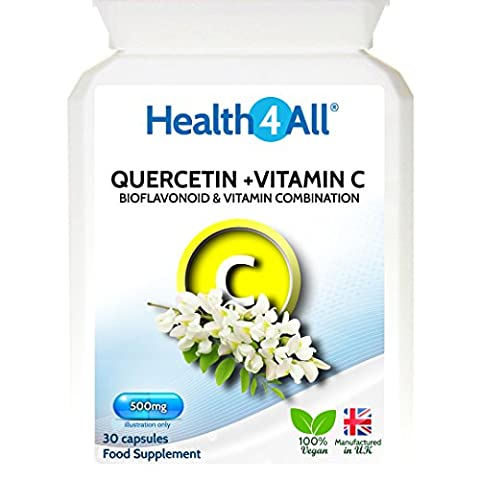 Health4All Quercetin 500mg with Vitamin C 60 Capsules (V) | Antioxidant | Natural Antihistamine | Free UK Delivery | 100% VEGAN