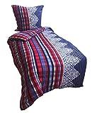 Leonado Vicenti 3 tlg. Thermofleece Bettwäsche 135x200 cm Rot Blau Weiß Kariert Winter Flausch warm Set mit Reißverschluss und Bettlaken 90-100x200 cm