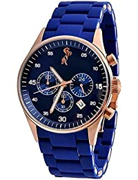 Style Feathers Analogue Blue Dial Men's Watch-Sylvi-Armani-Blue-1