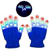 Charlemain LED Handschuhe (5-10 Jahren) mit 6 Modus, Kinder leuchtende Handschuhe für Mädchen, Junge, Licht Gadget für Halloween, Konzert, Party usw. (Blau)