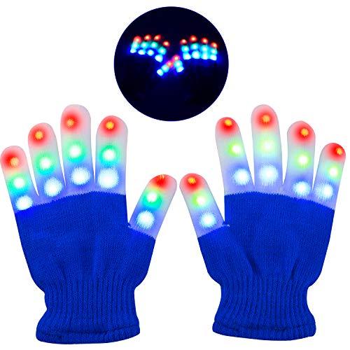 Charlemain Kinder LED Handschuhe (5-10 Jahre), 6 Modus, blinkende Handschuhe Spielzeug für Feiertag, Weihnachten, Halloween Kostümzubehörer, kleine Handschuhe für Mädchen, Junge, Geschenk