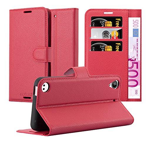 Cadorabo Hülle für HTC Desire 530/630 - Hülle in Karmin ROT – Handyhülle mit Kartenfach und Standfunktion - Case Cover Schutzhülle Etui Tasche Book Klapp Style