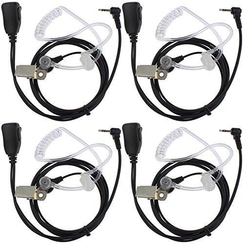 TENQ Advanced Nippel Covert Akustische Tube Bodyguard FBI Ohrhörer Headset für Walkie Talkie Two Way Radio 1Pin Motorola Cobra Talkabout X (4Packungen) -