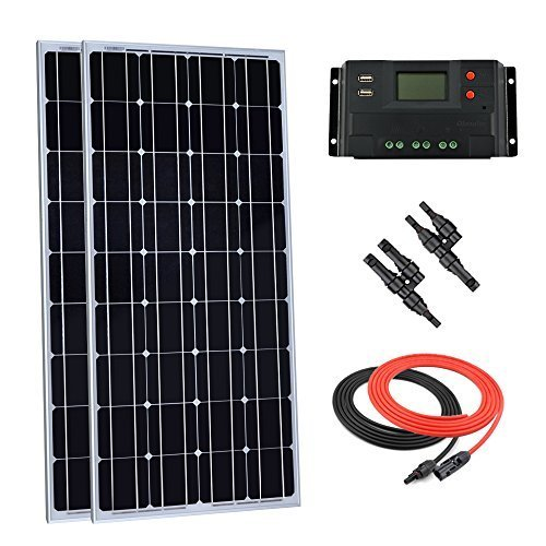 Giosolar 200watt 12volt pannello solare kit: pezzi 100w pannello solare monocristallino con 20a lcd regolatore di carica per camper barca off-grid sistema