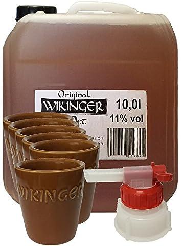 Wikinger Met 10 Liter Kanister + Tonbecher 6er Set + Ausgießer