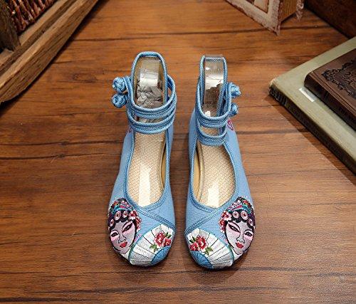 &hua Peking Opera Gestickte Schuhe, Sehnensohle, ethnischer Stil, Femaleshoes, Mode, bequeme Segeltuchschuhe Light Blue