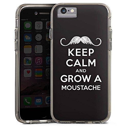 Apple iPhone 8 Bumper Hülle Bumper Case Glitzer Hülle Keep Calm and Grow A Moustache Phrases Sprüche Bumper Case transparent grau