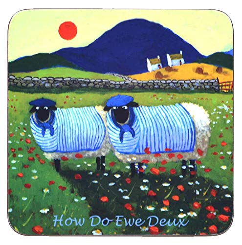 Irish Coaster With 2 Sheep Dressed in French Clothing 'How Do Ewe Deux'