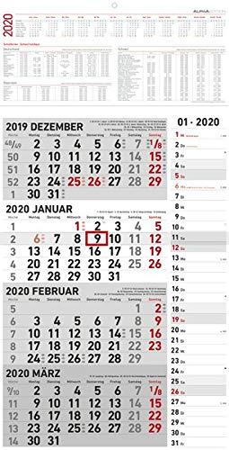 4-Monatskalender Kombi 2020 - Wandkalender - Bürokalender (33 x 63 geöffnet) - mit Datumsschieber - inkl. Jahresübersicht -
