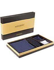 Mailando Herren Geschenkset mit Kaschmir Schal, Krawatte und 2x Einstecktuch in hochwertiger Geschenkbox