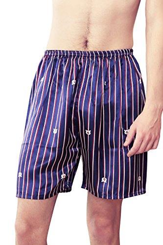 Dolamen Herren Schlafanzughose Hose Shorts kurz, 2 Stück Herren Satin unterwäsche boxershorts Nachtwäsche Trunk Pyjamahose Bottoms elastischem Bund zum Schlafen Freizeit (X-Large, Blau Streifen) -