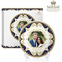 Royal Heritage H.r.h Harry y Megan Markle placa conmemorativa de la boda, porcelana, multicolor, 15 x 15 x 2 cm