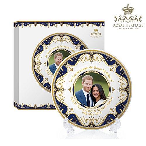 Royal Heritage H.r.h Harry et Megan Markle plaque commémorative de mariage, EN PORCELAINE FINE, Multicolore, 15 x 15 x 2 cm