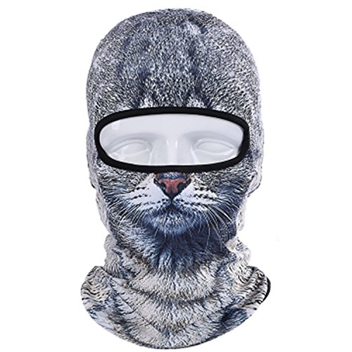 Rain Gift del cranio maschera passamontagna Hood Outdoor Cycling balacl avas 3d Animal Active Full Face Motor Cycle Masks, grey cat