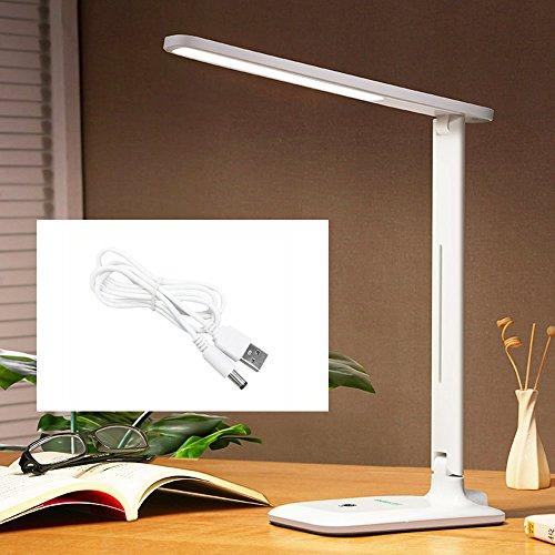 Slosh - Flexo de LED de 7W, luz ajustable, 3000K, 4000K o 6000K, 3W, 5W o 7W, cuida de la vista, de noche, para niños, recargable,  para lectura, para mesillas, escritorio, dormitorio, blanco