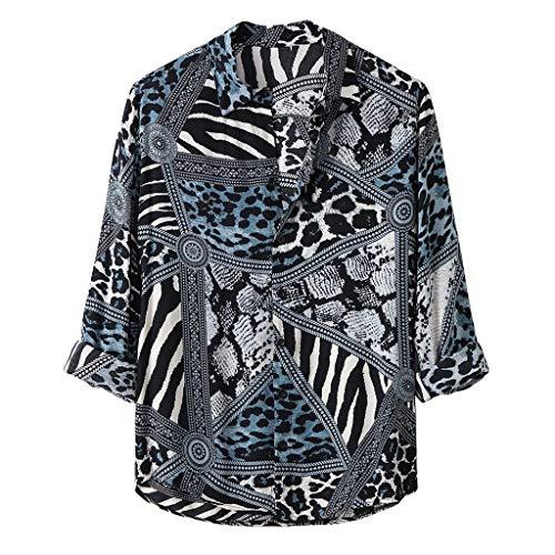 ღLILICATღ Camisa De Manga Larga con Estampado De Leopardo Diario Informal Suelta De Otoño para Hombre Superior Cómoda Transpirable Camisas Hombre Hippie T Shirt Hombre