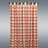 SeGaTeX home fashion Landhaus-Vorhang Drive Karo Terra Deko-Schlaufenschal mit 8 Schlaufen Übergardine