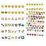 kwmobile Emoji Set LED Lichtbox - 126 Plättchen A6 Kino Lightbox - Deko Light Box Erweiterungsset - Licht Tafel Zubehör Herz Smiley Einhorn Symbole