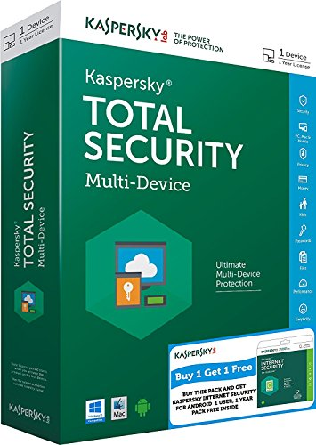 Combo Pack- Kaspersky Total Security - 1 User, 1 Year (CD) + Kaspersky Internet Security for Android (Chance to win Rs.1000 Amazon Gift voucher)