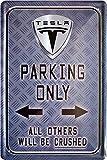 Tesla parking only car, 20 cm x 30 cm Tin Sign 840