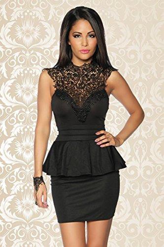 LeVie Süßes Damen Vintage Kleid mit Spitze Schwarz