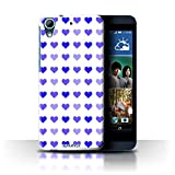 Custodia/Cover Rigide/Prottetiva STUFF4 stampata con il disegno Amore Cuore Stampino per HTC Desire 626G+ - Blu
