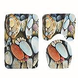 Badezimmer Anti-Rutsch-Matte Wc-Abdeckung Teppichmatte 3-Stück-Set Rutschfeste Pflasterstein Fußabdruck Badezimmer Teppich