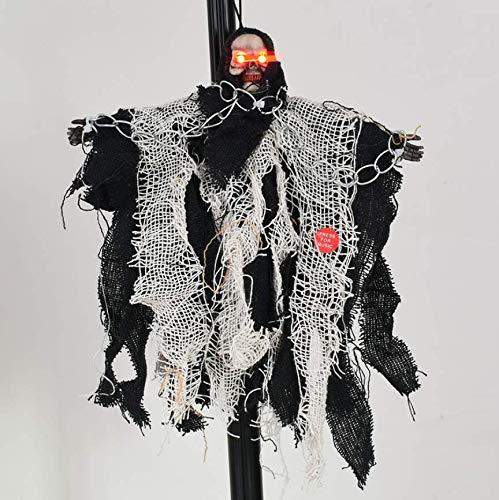 YC DOLL Animiertes Elektrisches Skelett Ghost Halloween Dekoration Mit Leuchtend Roten Augen Und Großem Sound Effekt, Terroristisches Spielzeug, Orange, Schwarz, Gelb 15 * 13Cm,Black