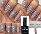 Bluesky – Nagellack-Gel, UV-LED, Imprägniergel, 10 ml, taupe, beige, grau – plus 2 LuvliNail Glanztücher – 63921