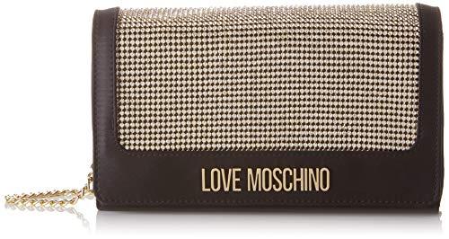 Love Moschino Damen Borsa Satin Umhängetasche, Schwarz (Nero), 6x13x23 Centimeters Royal Polyester Satin
