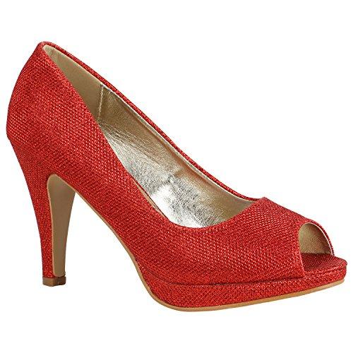Damen Schuhe Pumps Plateau Pumps High Heels Lack Stiletto Elegante 156021 Rot Glitzer 38 Flandell