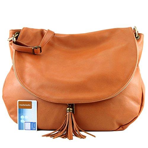 modamoda de - ital. Ledertasche Damentasche Schultertasche Umhängetasche Nappaleder T40 Orangebraun Large