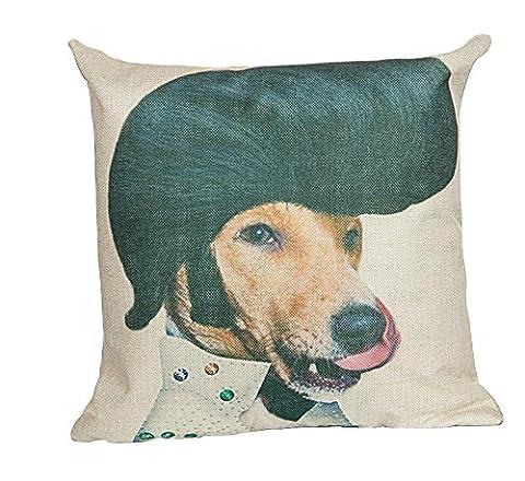 lovein Lin d'Impression Housses de coussin décoratif taies d'oreiller, 45x 45cm (Celebrity modélisation pour chien Série), Lin, The Hillbilly Dog, 45 x 45 cm