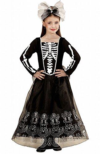 Widmann 02248 - Kinderkostüm Skeletria, Kleid, Haarreif mit Schleife, Juwel und Tüll, Gröߟe (Halloween Jährigen 13 Ideen Kostüm)
