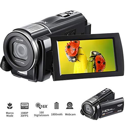 Full HD Camcorder, ORDRO Videokamera 1080P 30FPS Vlogging Kamera 24MP 16X Digitalzoom 3'' TFT LCD Screen Video Kamera Digitalkamera für Geburtstag
