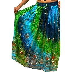 Colorido de las señoras de la India Boho Hippie gitano largo de lentejuelas de la falda del verano del rayón de danza del vientre étnico (4)