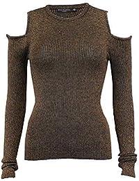 9f8dbd0f3b79 Damen ausgeschnitten kalt Schulter Pullover Brave Soul Damen gestrickt  Lurex Pullover NEU