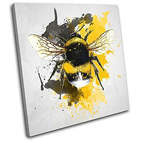 Bold Bloc Design - Bee Nature Paint Abstract Animals 60x60cm SINGLE Canvas Art Print Box Framed Picture Wall Hanging - Hand Made In The UK - Framed And Ready To Hang
