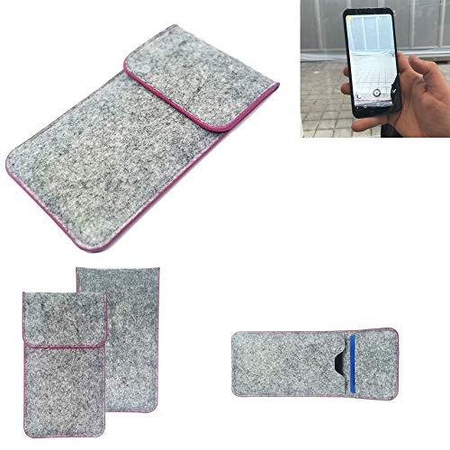 K-S-Trade® Filz Schutz Hülle Für Energizer Powermax P600S Schutzhülle Filztasche Pouch Tasche Case Sleeve Handyhülle Filzhülle Hellgrau Pinker Rand