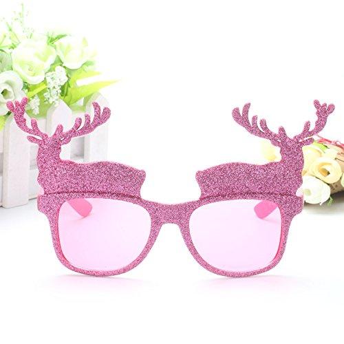 SUxian Weihnachtsgläser Neuheit Party Kreative Elch Gläser Weihnachtsschmuck (Pink)