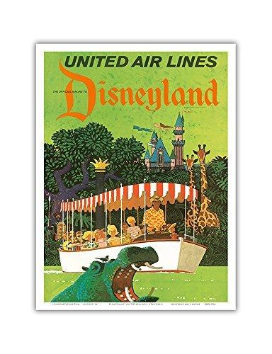 Pacifica Island Art Disneyland Kalifornien-United Air Lines-Adventureland Jungle Cruise Hippo-Vintage Airline Travel Poster von Stan Galli c.1960s-Master Kunstdruck 9