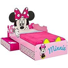 Hello Home 509MIZ - Cama infantil con espacio de almacenamiento debajo de la cama con diseño de Minnie Mouse, color rosa
