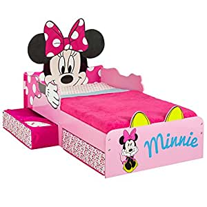 minnie mouse bett f r kleinkinder mit spielzeugbox holz rosa 87 x 77 x 143 cm k che. Black Bedroom Furniture Sets. Home Design Ideas