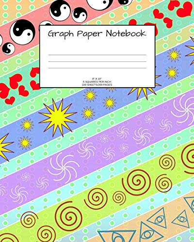 Graph Paper Notebook: Fun pattern; 5 squares per inch; 100 sheets/200 pages; 8