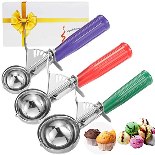 CHEE MONG Ice Cream Scoops, Cookie with Trigger for Fruits, Ice Cream Scoop Melon Baller Stainless Steel Spoon Scoopers Elegant Gift Bundle (Green red Purple) - Für Cream Ice Scoop