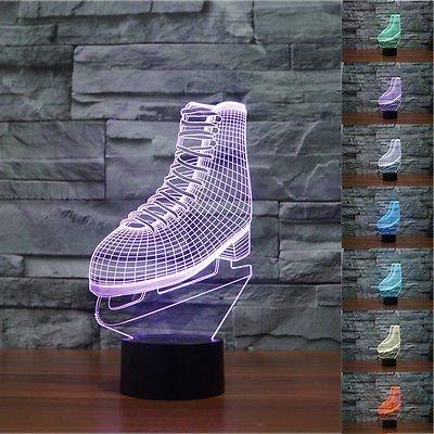 Novelty 3D ICE SKATING Roller Skates Night Light 7 Color Change LED Table Lamp Kids Decor Gift