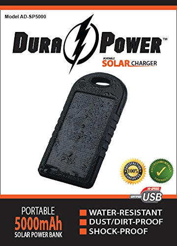 Solar Charger - DURA ÏŸ POWER(TM) AD-SP5000 - NEWEST 2014 ENVIRONMENTALLY FRIENDLY Model, 5000mAh Dual Portable USB Charger Power Bank w/ LED Flashlight, Carabiner and Charging Cord. This Rechargeable External Battery Pack is constructed with a Solar Panel for Emergency Charging. This Unit is a Shock Proof, Dust Proof and Water Resistant Back-up Power Source for iPhone 6, 6 Plus, 5S, 5C, 5, 4S, 4, iPads, iPods, Mini, Air, Tablets, Android Devices, Samsung Galaxy S5, S4, S3, Galaxy Note 4, 3, 2,  available at amazon for Rs.7198